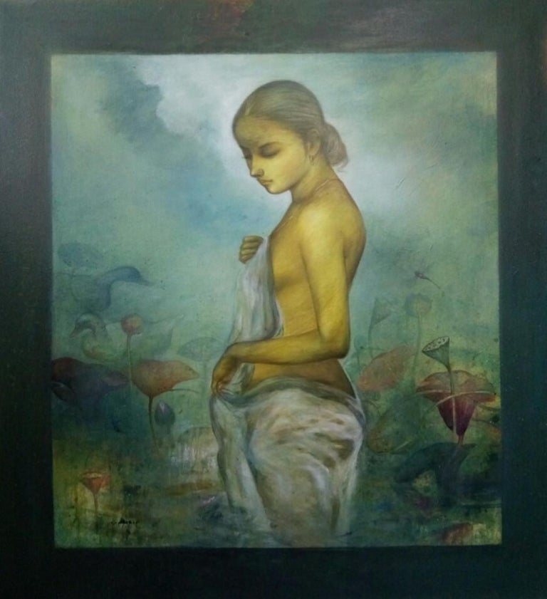 """Gaurango Beshai  Figurative Painting - Lotus Pond, Acrylic on Canvas, Green, Yellow by Contemporary Artist""""In Stock"""""""