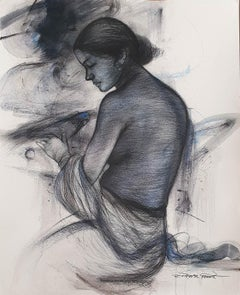 "Nude Women, Bird, Mixed Media Painting, Blue, Black by Bengal Artist ""In Stock"""