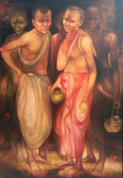 """Pujari, Acrylic on Canvas, Red, Brown by Contemporary Artist """"In Stock"""""""