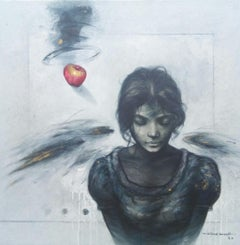 """The Girl, Acrylic on Canvas, Blue, Black, Red by Contemporary Artist """"In Stock"""""""