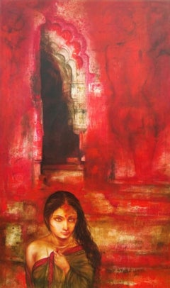 """Untitled, Acrylic on Canvas, Red, Yellow by Contemporary Artist """"In Stock"""""""