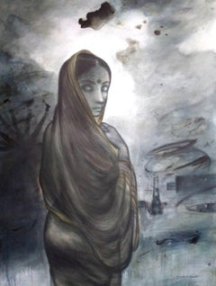 """Village Woman, Acrylic on Canvas by Contemporary Artist """"In Stock"""""""