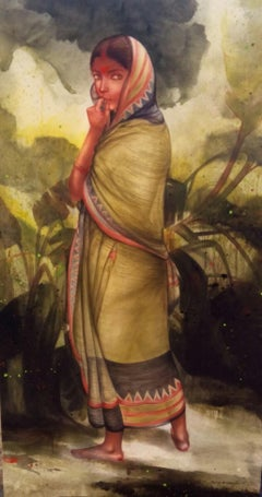 """Village Woman, Acrylic on Canvas, Green, Red Contemporary Artist """"In Stock"""""""