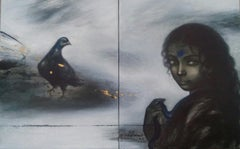 """Woman with Bird, Acrylic on Canvas, Black by Contemporary Artist """"In Stock"""""""