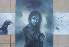 """Woman with Bird, Acrylic on Canvas, Blue by Contemporary Artist """"In Stock"""""""