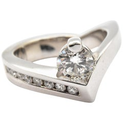 Gauthier 14 Karat White Gold and 0.71 Carat Diamond Ring