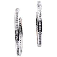 Gauthier 14 Karat White Gold Channel Set Diamond Inside Outside Hoop Earrings