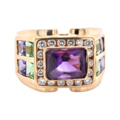 Gauthier 14 Karat Yellow Diamond, Amethyst, and Peridot Fashion Ring