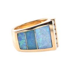 Gauthier 18 Karat Yellow Gold Diamond and Opal Inlay Ring