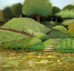 Albert-Kahn Japanese Botanical Gardens Paris, Painting, Oil on Canvas