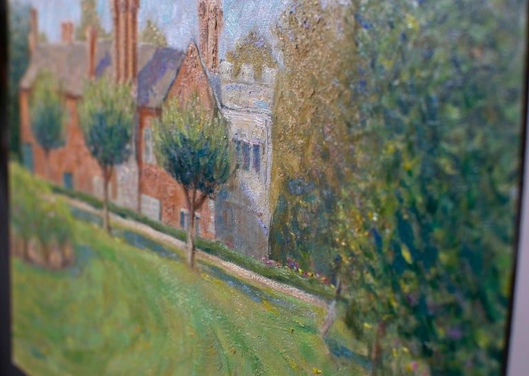 Baddesley Clinton moat manor house impressionism, Painting, Oil on Canvas For Sale 1