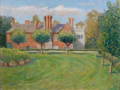 Baddesley Clinton moat manor house impressionism, Painting, Oil on Canvas