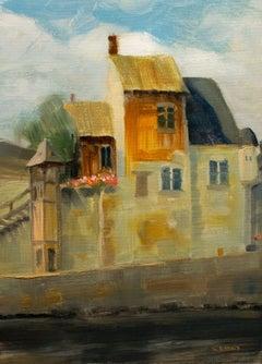 Honfleur harbor France, old buildings framed oil, Painting, Oil on Canvas