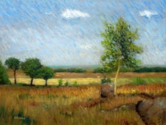 Impressionist field and trees in English landscape, Painting, Oil on Canvas