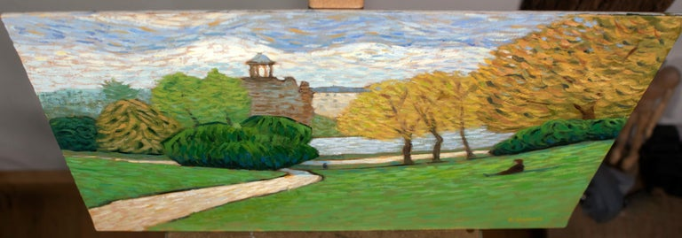 Lazy day in the Paris Park, Buttes-Chaumont, Painting, Oil on Canvas For Sale 3