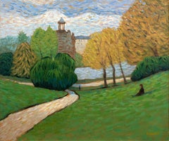 Lazy day in the Paris Park, Buttes-Chaumont, Painting, Oil on Canvas