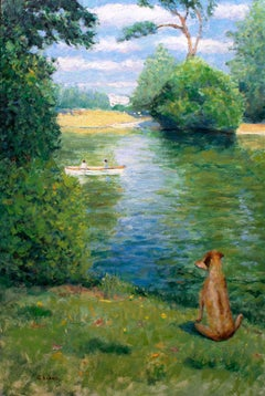 Paris Park Bois de Boulogne Boating Lake with dog, Painting, Oil on Wood Panel
