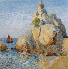The Brittany coast, Port-Blanc chapel on the rocks, Painting, Oil on Canvas