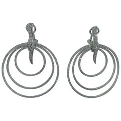 Gavello 18 Carat White Gold and Diamond Disc Earring Ear Clips
