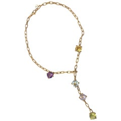 Gavello 18 Carat Yellow Gold Multi Gem and Diamond Pendant Necklace