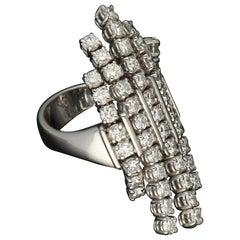 Gavello 1990s 3.90 Carat Diamond Flexible Ergonomic Kinetic Gold Fashion Ring