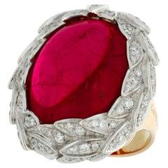Gavello 30 Ct Rubellite Tourmaline 2.3 Ct Diamonds 26 g Gold Cocktail Ring