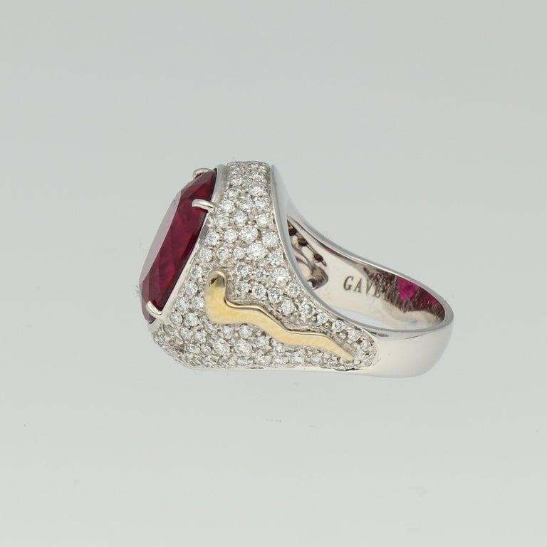 Contemporary Gavello Rubellite Pave Diamonds Gold Cocktail Ring For Sale