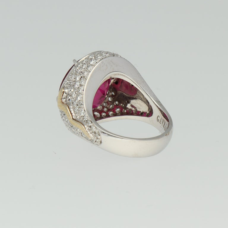 Round Cut Gavello Rubellite Pave Diamonds Gold Cocktail Ring For Sale