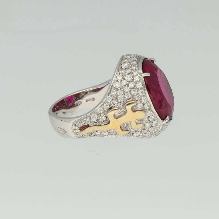 Gavello Rubellite Pave Diamonds Gold Cocktail Ring In New Condition For Sale In Andorra la Vella, AD