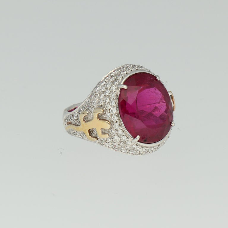 Women's Gavello Rubellite Pave Diamonds Gold Cocktail Ring For Sale