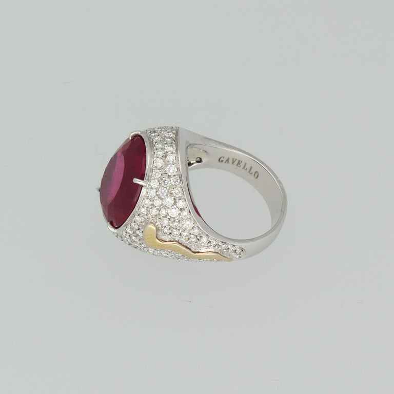 Gavello Rubellite Pave Diamonds Gold Cocktail Ring For Sale 1