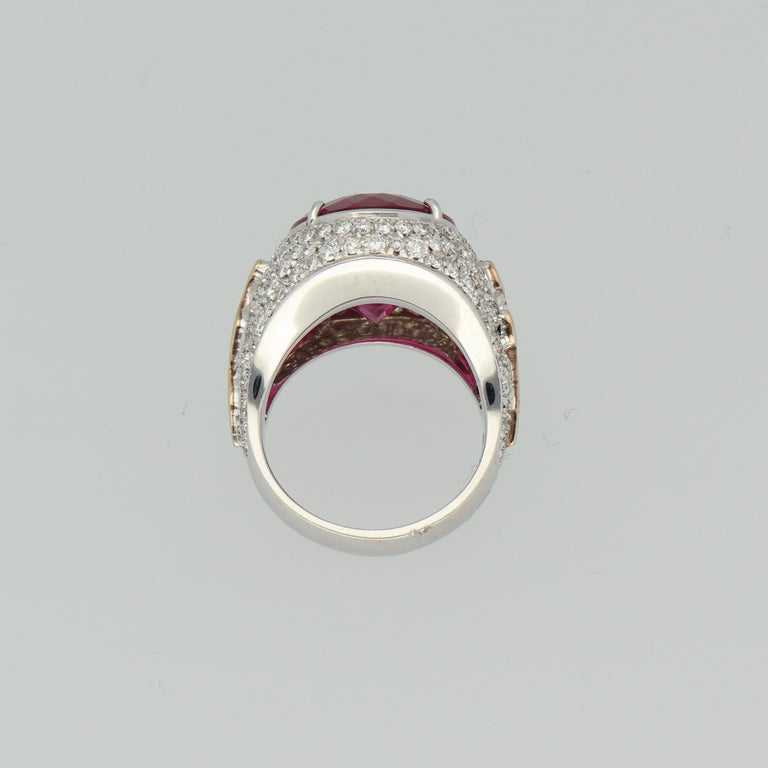 Gavello Rubellite Pave Diamonds Gold Cocktail Ring For Sale 2