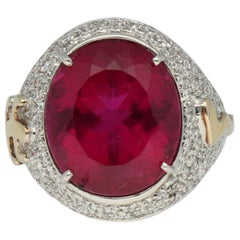Gavello Rubellite Pave Diamonds Gold Cocktail Ring