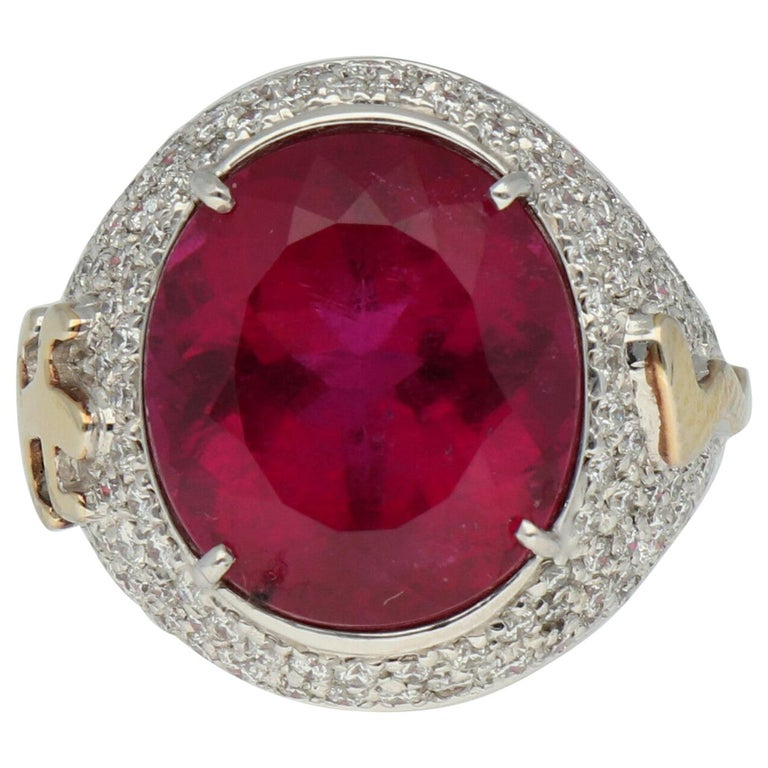 Gavello Rubellite Pave Diamonds Gold Cocktail Ring For Sale