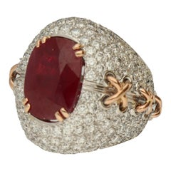 Gavello Ruby Diamonds Pave White and Yellow Gold Cocktail Ring