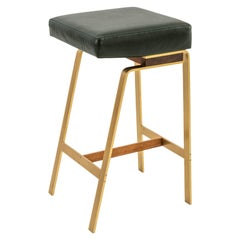 Gavilan Barstool, Solid Brass Base with Walnut Details COM/COL - Green Leather