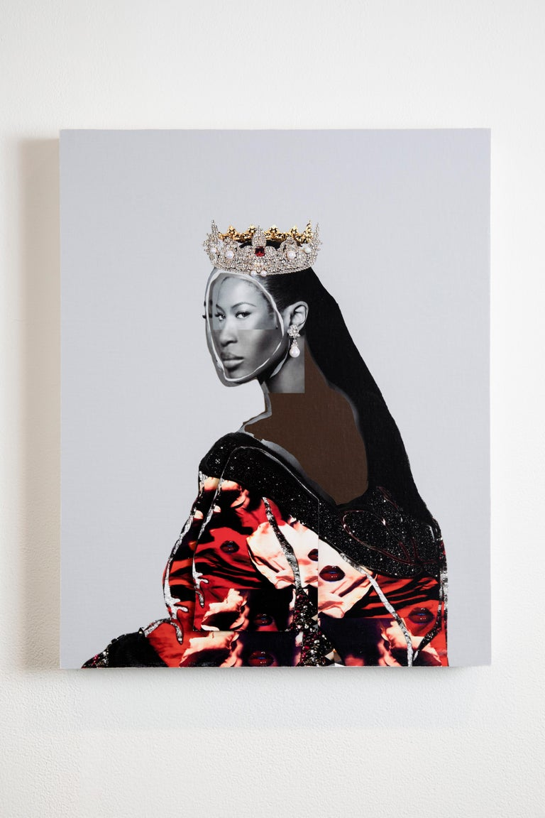 Head of State No. 31 - Photo collage Portrait with Gems, Crown, Naomi Campbell  - Painting by Gavin Benjamin
