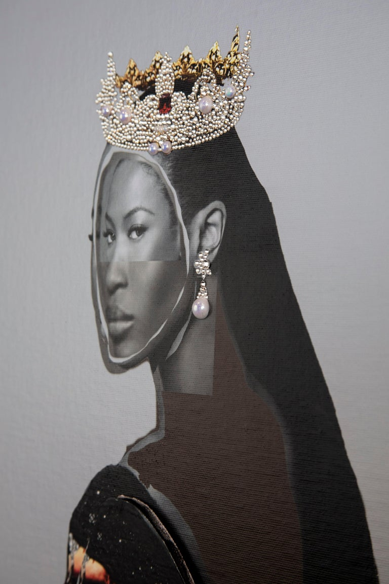 Head of State No. 31 - Photo collage Portrait with Gems, Crown, Naomi Campbell  - Contemporary Painting by Gavin Benjamin