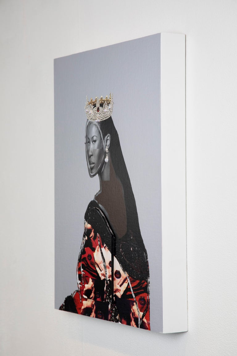 This photo collage by Gavin Benjamin depicts supermodel Naomi Campbell in a luscious, royal robe, which has been fabricated with photos of red, lipstick-stained lips and stars. A crown of pearls and gems sits on her head, and a single pearl earring