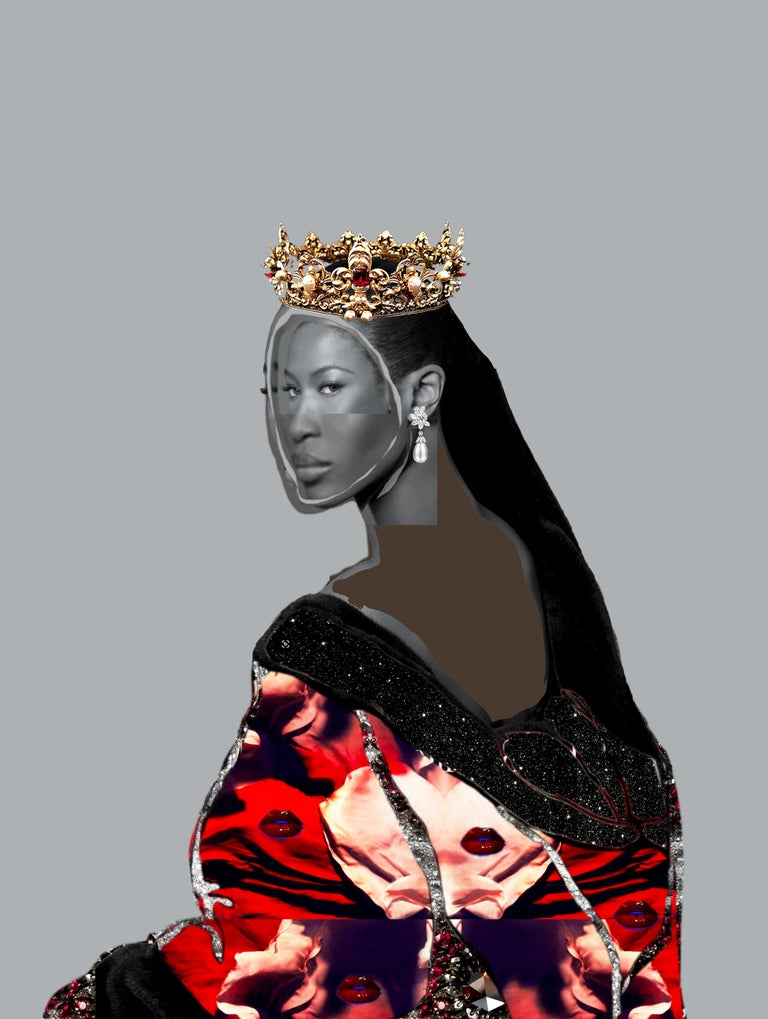 Gavin Benjamin Portrait Painting - Head of State No. 31 - Photo collage Portrait with Gems, Crown, Naomi Campbell