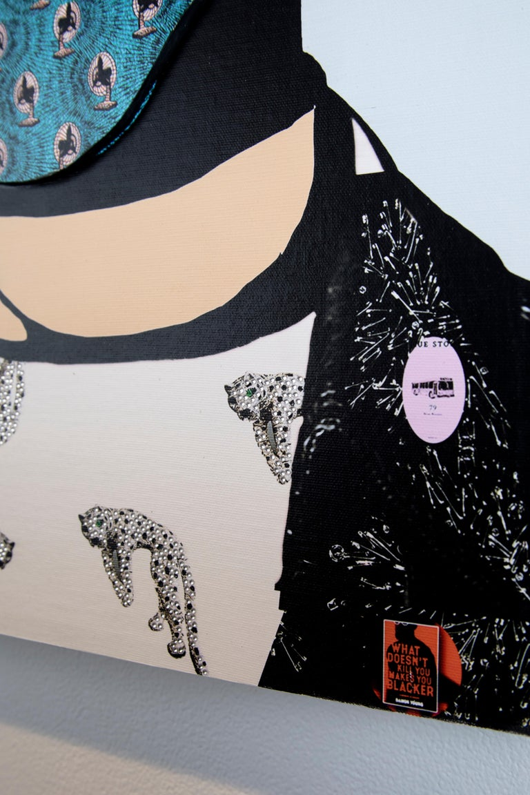 This photo collage piece by Gavin Benjamin depicts a man wearing a beret and a mask, meeting the gaze of the viewer. He sports a leather jacket and a shirt with bedazzled leopards underneath. Several