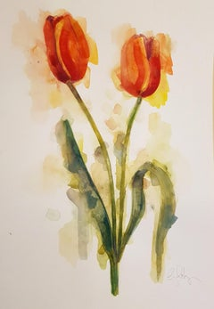 Gavin Dobson, Tulips, Original Still Life Painting, Floral Artwork, Bright Art
