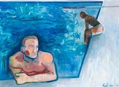 Gavin Dobson, Two Boys, One Splash, Contemporary Art, Swimming Pool Painting
