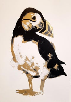 G Dobson, Puffin Gold, limited edition screen print hand finished with gold foil