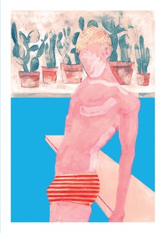 Gavin Dobson, Pool Boy, CYMK silk screen print, Affordable Art