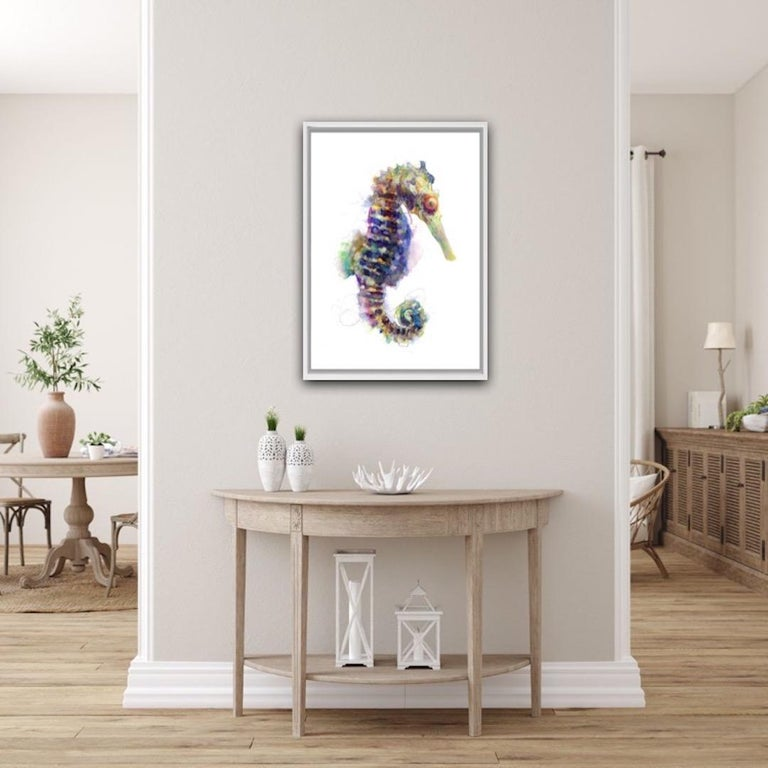 Gavin Dobson Seahorse Screenprint Size : H 70 cm x W 50 cm (Please note that in situ images are purely an indication of how a piece may look.)  A handmade screen print of this incredibly beautiful sea creature. A mixture of colours and textures