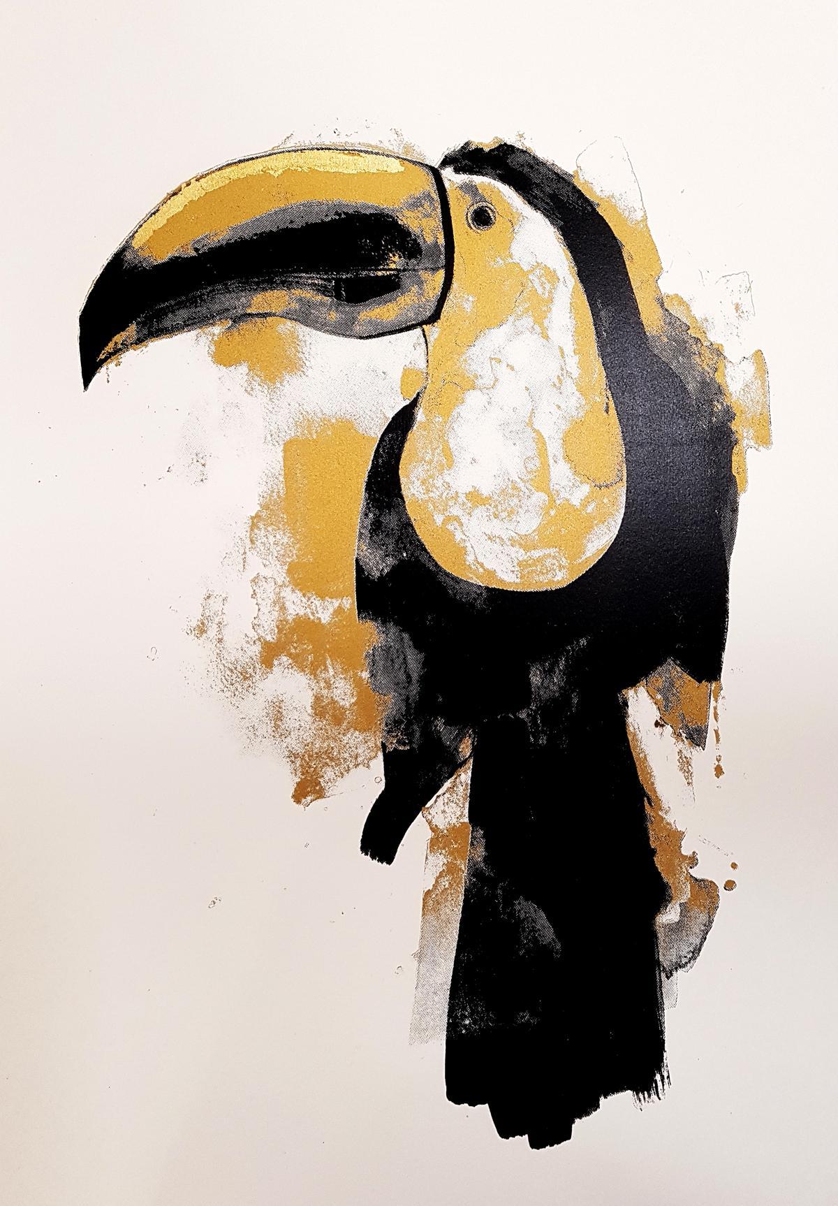 Gavin Dobson, Toucan Gold, Limited Edition Silkscreen Print, Bird Art, AnimalArt