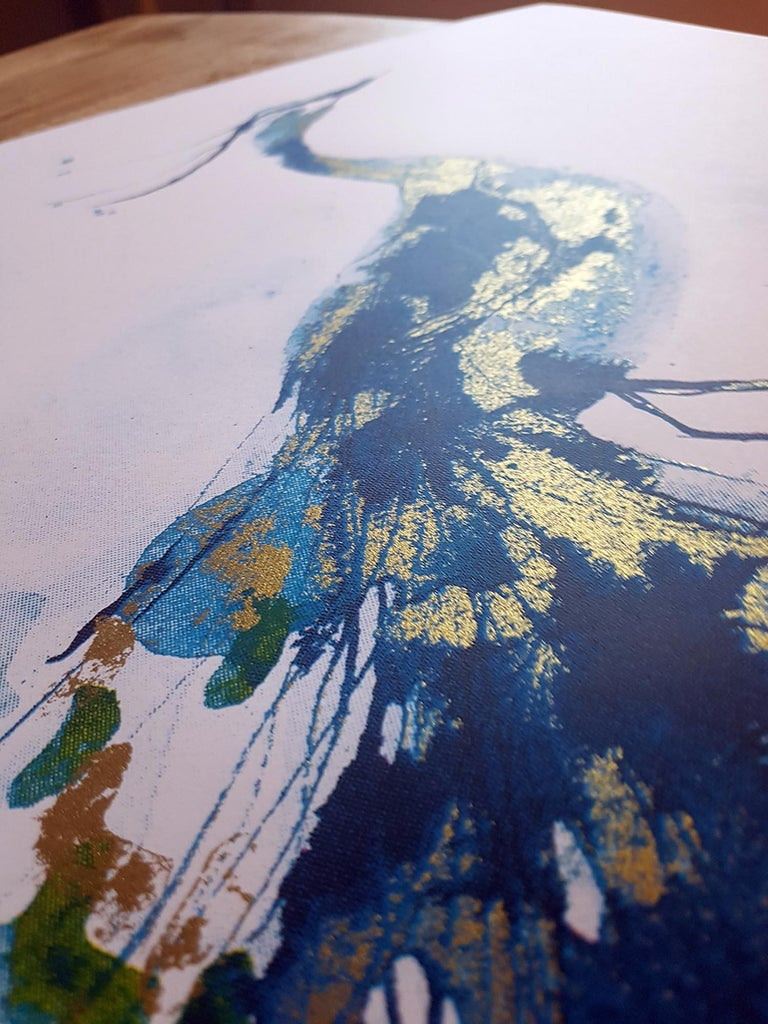 Peacock Gold A beautiful CYMK silk screen print by Gavin Dobson.  Based on an original watercolour painting of this iconic bird, this popular piece of art is individually hand printed by the artist using half tones to create the layered blues and