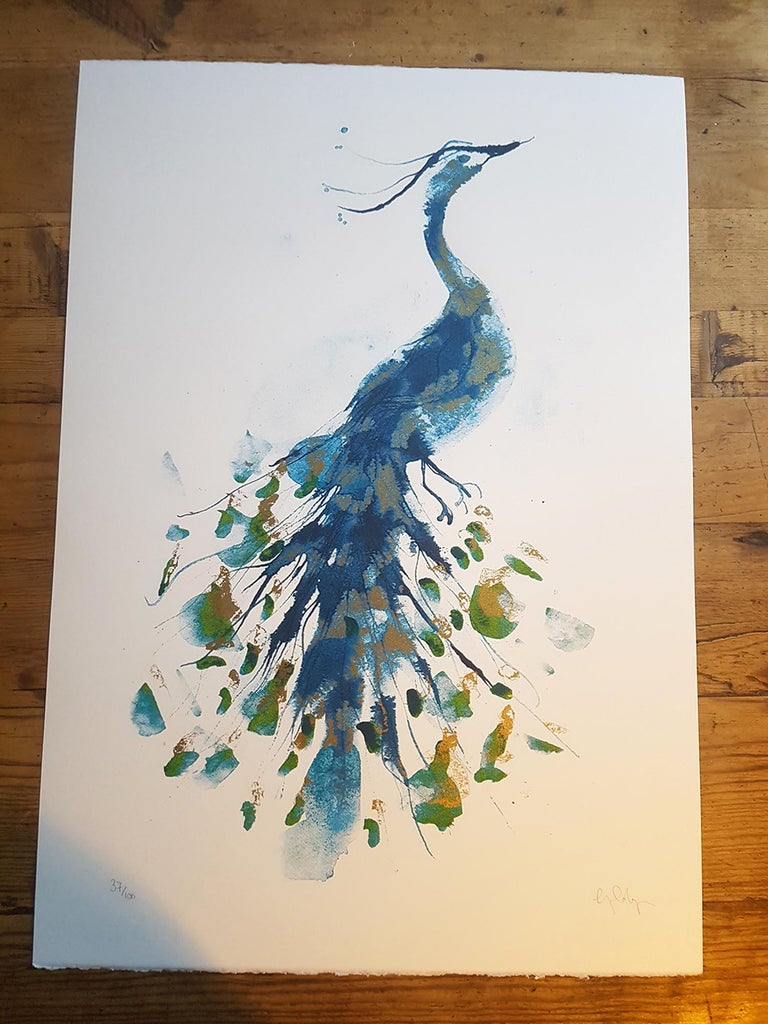 Peacock Gold, Limited Edition Print, Gavin Dobson, Animal Art For Sale 1