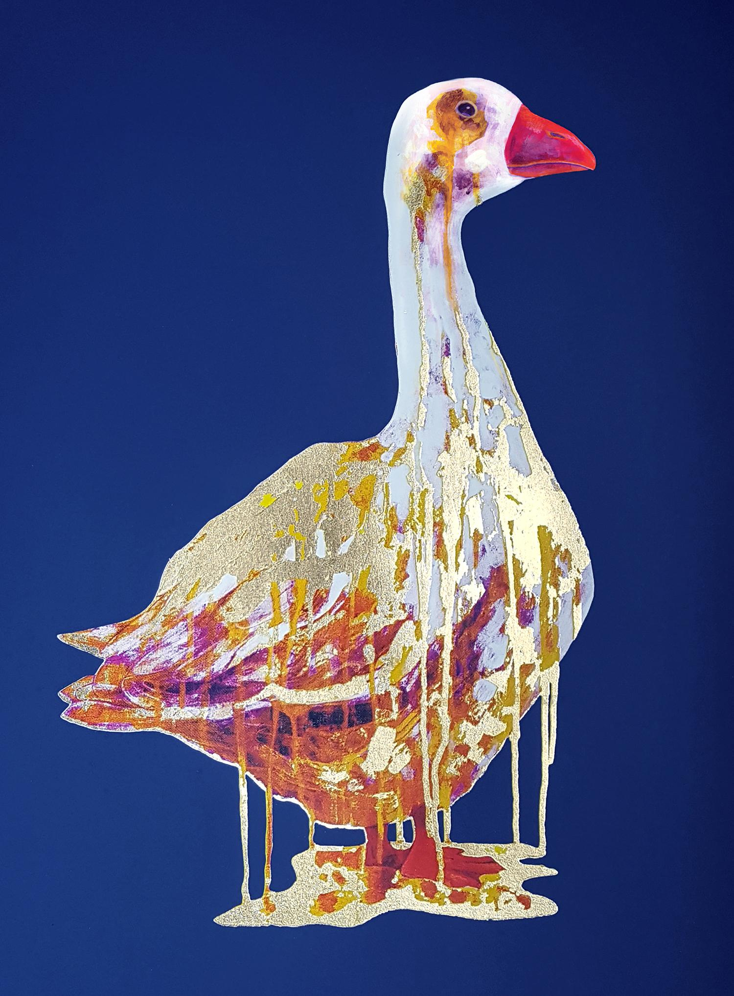 The Golden Goose, Gavin Dobson, Animal Art, Bird Print, Gold Print, Blue Art